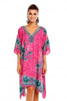 Ladies Plus Size Kimono Purple Tribal Ethnic Print Tunic Kaftan