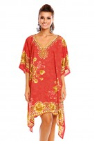 Ladies Plus Size Kimono Red Tribal Ethnic Print Tunic Kaftan
