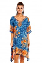 Ladies Plus Size Kimono Teal Tribal Ethnic Print Tunic Kaftan