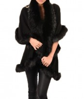 Black Faux Fur Cape Double Layered Gilet Body Warmer