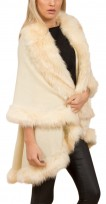 Faux Fur Double Layered Cape In Cream