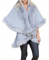 Faux Fur Double Layered Cape In Grey