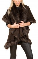 Faux Fur Double Layered Cape In Brown