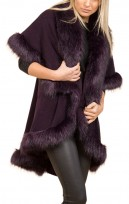 Faux Fur Double Layered Cape In Purple