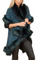 Faux Fur Double Layered Cape In Teal