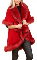 Faux Fur Double Layered Cape In Red