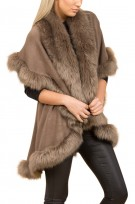 Faux Fur Double Layered Cape In Mocha