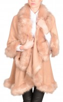 Faux Fur Double Layered Cape In Pink