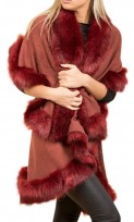 Faux Fur Double Layered Cape In Marble Red