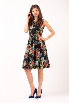 Ladies Summer Floral Picnic Tea Retro Vintage 50's Dress In Black