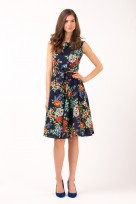 Ladies Summer Floral Picnic Tea Retro Vintage 50's Dress In Navy