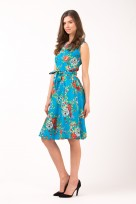 Ladies Summer Floral Picnic Tea Retro Vintage 50's Dress In Turquoise