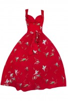 Retro Sweetheart Bird Print Red 1950's Party Vintage Dress