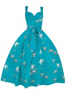 Retro Sweetheart Bird Print Teal 1950's Party Vintage Dress