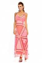 Laides Pink Abstract Summer Holiday Full Length Maxi Dress