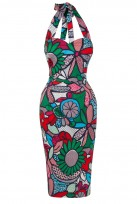 Ladies Green Pop Art  Vintage Retro 1940's Wiggle Pencil Halter Dress