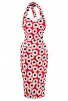 Ladies Red Diasy Vintage Retro 1940's Wiggle Pencil Halter Dress
