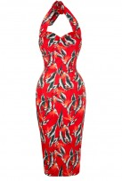 Ladies Red Feather Vintage Retro 1940's Wiggle Pencil Halter Dress