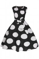 Ladies Floral Retro Polka Black Crew Neck 1950's Prom Dress
