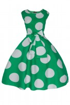 Ladies Floral Retro Polka Green Crew Neck 1950's Prom Dress