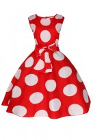 Ladies Floral Retro Polka Red Crew Neck 1950's Prom Dress