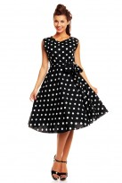 Ladies 1950's Retro Vintage Classic Polka Dot Audrey Hepburn Dress in Black