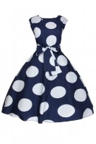 Ladies Floral Retro Polka Navy Crew Neck 1950's Prom Dress