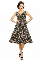 Ladies Retro Vintage 10711 Black 1950's Rockabilly Swing Prom Bird Print Dress
