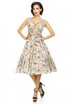Ladies Retro Vintage 10711 Grey 1950's Rockabilly Swing Prom Bird Print Dress