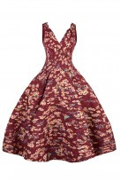 Ladies Retro Vintage 10711 Maroon 1950's Rockabilly Swing Prom Bird Print Dress