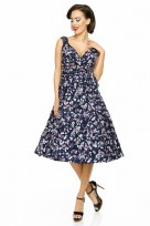 Ladies Retro Vintage 10711 Navy 1950's Rockabilly Swing Prom Bird Print Dress