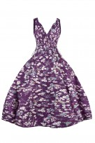 Ladies Retro Vintage 10711 Purple 1950's Rockabilly Swing Prom Bird Print  Dress