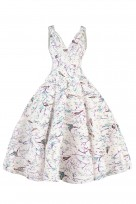 Ladies Retro Vintage 10711 White 1950's Rockabilly Swing Prom Bird Print L Dress