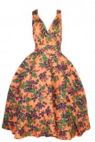 Ladies Retro Vintage 1950's Rockabilly Swing Prom Floral Dress
