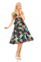 "Retro Vintage 1950s "" Marilyn"" Pin Up Swing Dress In Tropical Leaf"