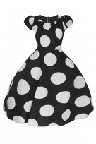 Ladies Plus Size Black Polka  40's-50's Vintage Retro Tea Cocktail Dress
