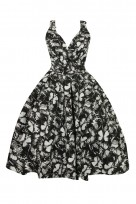 Ladies Retro Vintage 5066 Black 1950's Cross Over Party Dress