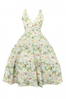 Ladies Plus Size 1950's Mid Tie Retro Vintage Pin Up Rockabilly Prom Swing Floral Dress