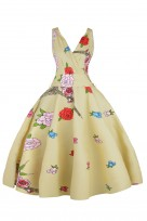 Ladies Retro Vintage 6006 Cream 1950's Cross Over Party Dress