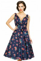 Ladies Plus Size 1950's Mid Tie Retro Vintage Pin Up Rockabilly Prom Swing Rose Floral Dress