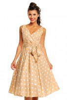 Ladies Marilyn 1950's Rockabilly Polka Dot Retro Swing Dress In Beige