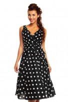 Ladies Marilyn 1950's Rockabilly Polka Dot Retro Swing Dress In Black