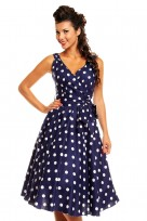 Ladies Marilyn 1950's Rockabilly Polka Dot Retro Swing Dress In Navy