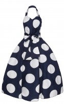 Ladies 1940's Retro Vintage Halter Neck  Dress In Navy