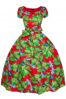 1940s Retro Vintage Swing Tea Dress In Leaf Print Red