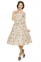 Ladies Rockabilly 1940's 1950's Retro Vintage Tea Shirt Swing Dress In Bird Print