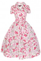 Ladies 1950's 40's Retro Inspired Vintage Pink Floral Shirt Dress