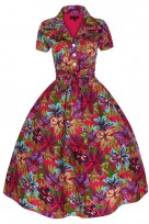 Ladies 1950's 40's Retro Inspired Vintage Funky Floral Shirt Dress