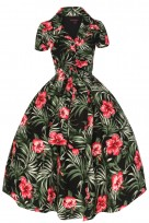 Ladies 1950's 40's Retro Inspired Vintage Rose Floral Swing Shirt Dress