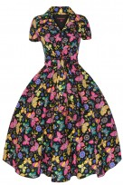 Ladies 1950's 40's Retro Inspired Vintage Funky Floral Swing Shirt Dress